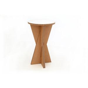 Linea in cartone EcoDesign Tavolino incrociato Gelso in cartone, Rivestimento in laminato Bianco, cm ø 60 x 101 h, Avana