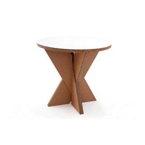 Linea in cartone EcoDesign Tavolino incrociato Gelso in cartone, Rivestimento in laminato Bianco, cm ø 80 x 74 h, Avana