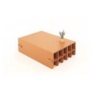 Linea in cartone EcoDesign Tavolino rettangolare Tiglio in cartone, cm 90 x 70 x 29 h, Avana