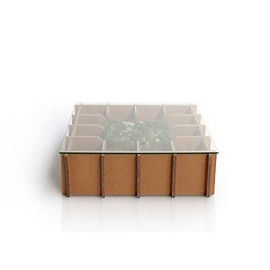 Linea in cartone EcoDesign Tavolino Salice in cartone, Piano in vetro, cm 80 x 80 x 25 h, Avana