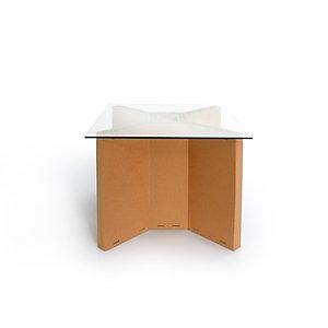 Linea in cartone EcoDesign Tavolo riunioni Palma in cartone, Piano in vetro, cm 100 x 100 x 75 h, Avana