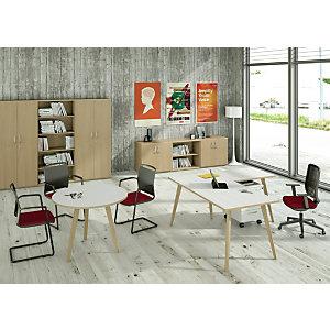 Linea Wood, Allungo laterale destro/sinistro per scrivania, 60 x 80 x 74,4 cm, Gamba in legno, Bianco con bordo rovere
