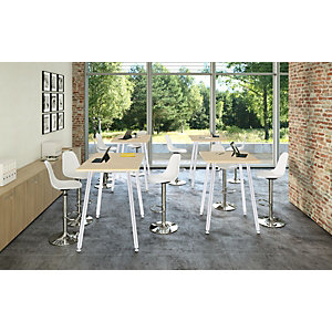 Linea Wood Metal Tavolo alto 120 x 80 x 105 cm, Gamba metallica bianca, Piano rovere