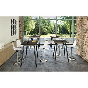 Linea Wood Metal Tavolo alto 160 x 80 x 105 cm, Gamba metallica nera, Piano nero venato con bordo rovere