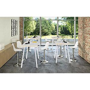 Linea Wood Metal Tavolo alto 80 x 80 x 105 cm, Gamba metallica bianca, Piano bianco con bordo rovere