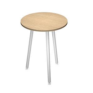 Linea Wood Metal Tavolo alto Ø 100 x 105 cm, Gamba metallica bianca, Piano rovere