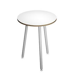 Linea Wood Metal Tavolo alto Ø 80 x 105 cm, Gamba metallica bianca, Piano bianco con bordo rovere