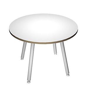 Linea Wood Metal, Tavolo riunioni rotondo, Ø 100 x 74,4 cm Gamba metallica, Bianco con bordo rovere