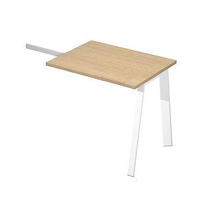 Linea Wood @ntibatterica Allungo per Scrivania operativa, 80 x 60 x 72,5 cm, Gamba metallica bianca, Piano rovere