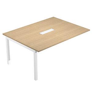 Linea Wood @ntibatterica Modulo intermedio aggiuntivo per tavolo riunioni, 160 x 120 x 72,5 cm, Gamba metallica bianca, Piano rovere