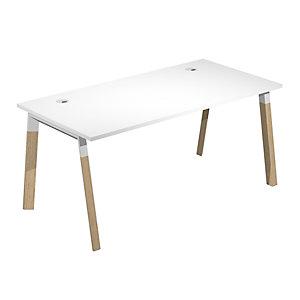 Linea Wood @ntibatterica Scrivania operativa, 160 x 80 x 72,5 cm, Gamba legno/metallo, Piano bianco