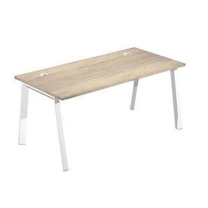 Linea Wood @ntibatterica Scrivania operativa, 160 x 80 x 72,5 cm, Gamba metallica bianca, Piano rovere Canadian