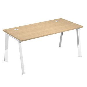 Linea Wood @ntibatterica Scrivania operativa, 180 x 80 x 72,5 cm, Gamba metallica bianca, Piano rovere