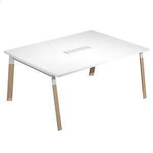 Linea Wood @ntibatterica Tavolo riunioni, 160 x 120 x 72,5 cm, Gamba metallica legno/metallo, Piano bianco
