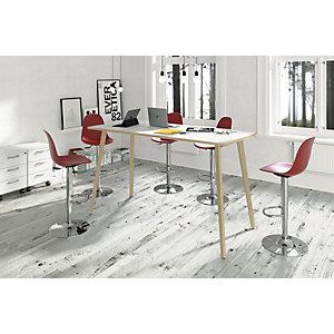 Linea Wood Tavolo alto 120 x 80 x 105 cm, Gamba in legno massello, Piano bianco