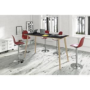 Linea Wood Tavolo alto 120 x 80 x 105 cm, Gamba in legno massello, Piano nero