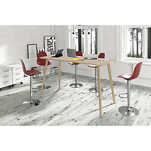 Linea Wood Tavolo alto 120 x 80 x 105 cm, Gamba in legno massello, Piano rovere