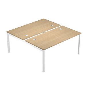 Linea Work Space 2 Postazioni contrapposte,, cm 160 x 168 x 73 h, Piano Rovere, Gamba metal Bianco