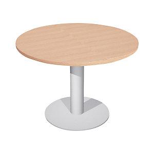 Linea Work Tavolo riunioni rotondo con gamba e base in metallo 120 x 73 cm, Colore Rovere