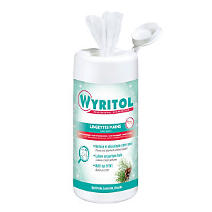 Lingettes désinfectantes mains Wyritol, boîte de 100