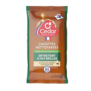 Lingettes nettoyantes et dépoussiérantes O'Cedar bois de santal, étui de 20 lingettes