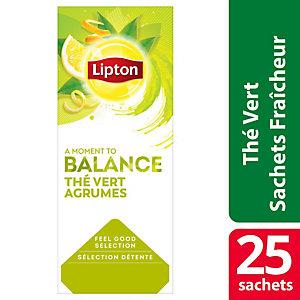 LIPTON 25 sachets enveloppés de thé vert citron Lipton