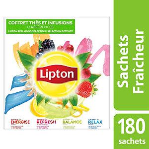 LIPTON Coffret 180 sachets thé et infusion
