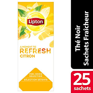 Lipton Feel Good Selection Thé Noir Citron - 25 sachets fraîcheur