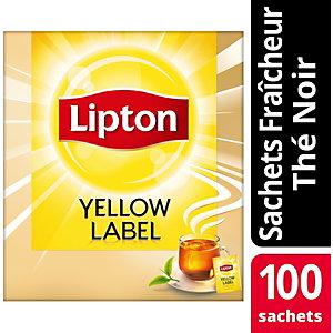 Lipton Thé noir Yellow Label, 100sachets de thé emballés