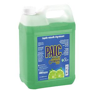 Liquide vaisselle main professionnel parfum citron vert Paic, bidon de 5 L.