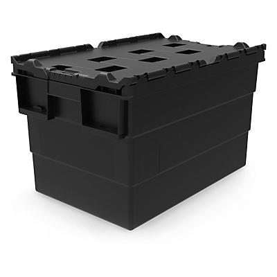 Loadhog Black Recycled Attached Lid Containers