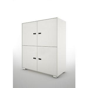 Lockers Primo, 4 porte, cm 100 x 45 x 117 h, Bianco