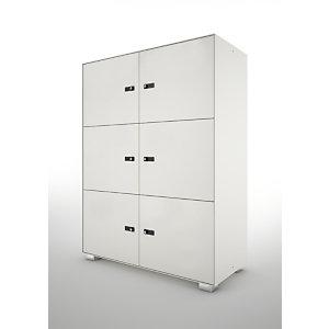 Lockers Primo, 6 porte, cm 100 x 45 x 133 h, Bianco