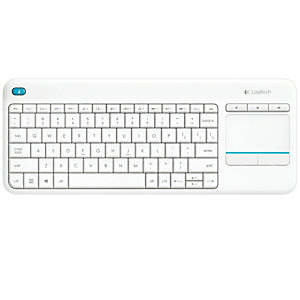 Logitech K400 Plus, Mini, Inalámbrico, RF inalámbrico, QWERTY, Blanco 920-007138