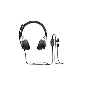 Logitech Zone Wired UC, Casque, Arceau, Appels et musique, Noir, Binaural, Bouton 981-000875