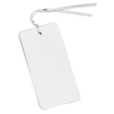 Long, white polythene bag ties