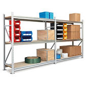 Longspan heavy duty stockroom chipboard shelving starter and extension bays