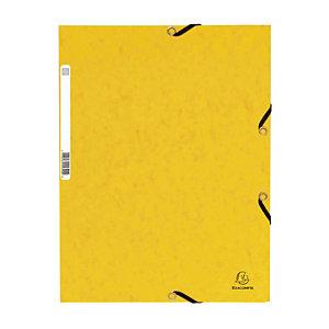 Lot de 10 Chemises à élastique 3 rabats Exacompta  coloris jaune