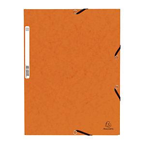 Lot de 10 Chemises à élastique 3 rabats Exacompta  coloris orange