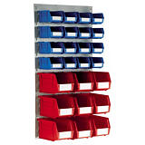 Louvred plastic storage bin and panel kits