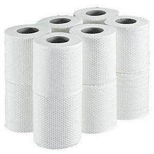 LUCART Papier toilette en rouleaux standard, double épaisseur, gaufré, 180feuilles, 113mm, blanc (Carton de 96 rouleaux)