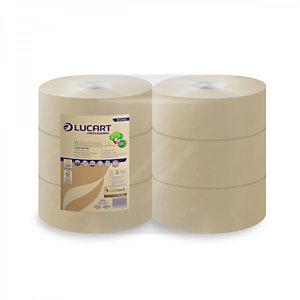 LUCART Rotolo di carta igienica Jumbo EcoNatural 300, 2 veli, Naturale (confezione 6 pezzi)