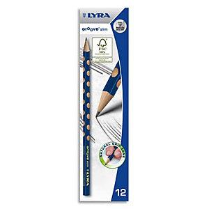 LYRA Crayons graphite triangulaires Groove Slim avec grip zone pour gauchers et droitiers mine HB