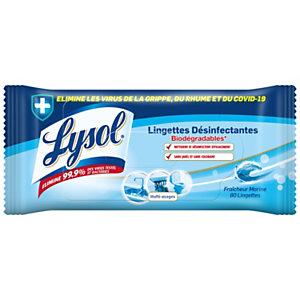LYSOL Lingettes désinfectantes biodégradables multi-usages - Fraîcheur Marine - sachet de 80