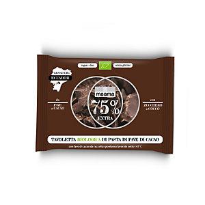 maama Tavoletta biologica di pasta di fave di Cacao, 75% Extra, 30 g