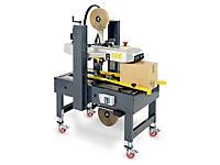Halbautomatische Kartonverschliessmaschine mit manueller Formateinstellung