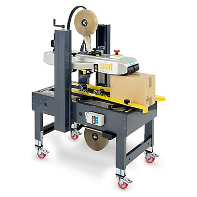 Machine de fermeture de caisses Monoformat##Halbautomatische Kartonverschliessmaschine mit manueller Formateinstellung