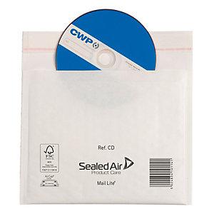 Mail Lite® Mail Lite, Busta imbottita a bolle d'aria, AirCap®, Autoadesiva, Carta Kraft, CD, 180 x 160 mm, Bianco (confezione 100 pezzi)