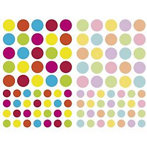 MAILDOR Sachet de 4 planches 10,5x16cm, 232 gommettes Initial rondes couleurs vif/pastel assorties
