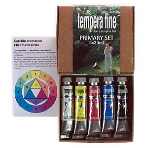 MAIMERI Tempera fine Primary Set - 20 ml - colori primari (nero, bianco inclusi) - Maimeri - set 5 pezzi